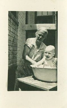 1940s Baby Bath Photo With Grandma Outside in by AlaskaVintage, $3.95