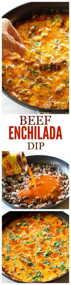 Enchilada Dip Recipe - The Girl Who Ate Everything Beef Enchilada Dip - so easy! Always a crowd pleaser! the-girl-who-ate-Beef Enchilada Dip - so easy! Always a crowd pleaser! the-girl-who-ate- Appetizer Dips, Appetizers For Party, Appetizer Recipes, Dinner Recipes, Party Dips, Mexican Appetizers, Cold Appetizers, Cheese Appetizers, Beer Cheese Dips