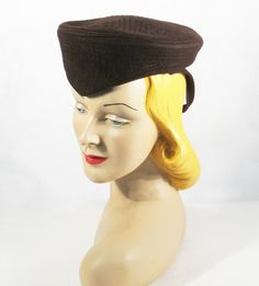 Vintage 1940s Hat Military Inspired Brown Wool Tilt / Formans New York Creations