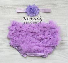 Lavender Chiffon Satin Headband and Matching Ruffle Bloomers Set From Kemaily Boutique, newborn headband, baby girl headbands