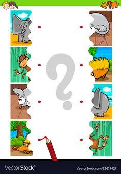 Match jigsaw puzzles educational activity vector image on VectorStock Preschool Phonics, Free Preschool, Preschool Activities, Logic Games For Kids, Puzzles For Kids, Animal Matching Game, Matching Games, Homeschool Worksheets, Worksheets For Kids