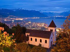 Church over Montreux Riviera by AlexAnnecy, via Flickr (Mont Pelerin, Switzerland)