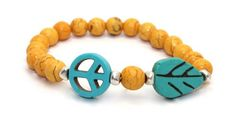 Beautiful 8mm Orange Magnesite Beads, Turquoise Magnesite Peace Sign, Turquoise Magnesite Leaf and Silver Plated Solid Brass Accent Beads Stretch Bangle Bracelet | AyaDesigns - Jewelry on ArtFire
