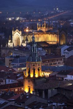 Vitoria-Gasteiz at night,Basque Country,Spain. Oh The Places You'll Go, Places To Travel, Places To Visit, Bilbao, Murcia, Vitoria Spain, Beautiful Buildings, Beautiful Places, Monuments