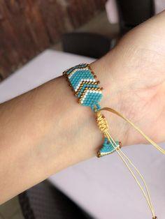 Miyuki Beaded Ethnic Designed Bracelet,Turquoise and copper ethnic Bracelet for women Diy Jewelry To Sell, Handmade Jewelry, Jewelry Patterns, Bracelet Patterns, Seed Bead Jewelry, Beaded Jewelry, Miyuki Beads, Crochet Beaded Bracelets, Valentines Jewelry