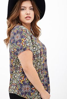 Stained Glass Print Top | FOREVER21 PLUS - 2000119793