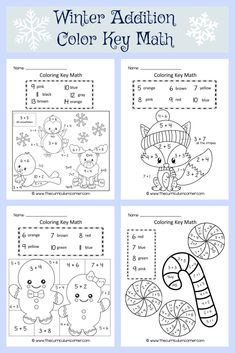 FREE Winter Color by Number / Coloring Key Math by The Curriculum Corner via @TheCCorner