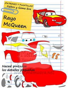 Descarga gratis nuestras plantillas para goma eva y fieltro de tus personajes de Disney favoritos: ayo McQueen y sus amigos.