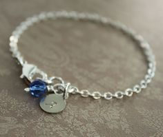 Personalized intial silver bracelet with a birthstone crystal dangle - Bridesmaid bracelet - Birthstone bracelet on Etsy, $18.50