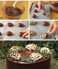 Chocolate Pinecones Pine Cone Decorations, Snack Recipes, Snacks, Holiday Appetizers, Food Crafts, Cupcake Cakes, Cupcakes, Good Food, Fun Food