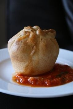 muffin pan calzones bobs red mill gf pizza crust, mozz, meat, marinara on side