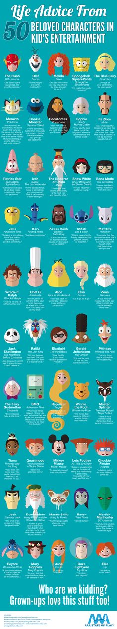 Life Advice from 50 Beloved Characters in Kid's Entertainment #infographic…