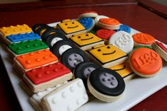 Lego Head Lego Blocks Tires and Logo 4 dozen mini cookies. #LegoDuploParty