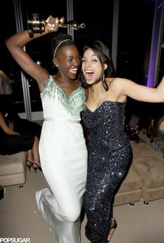 Lupita Nyong'o couldn't contain her Oscar-winning excitement with Rosario Dawson during the bash.