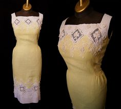 Sweet 1950's pale yellow and white linen wiggle dress with lace and floral appliques