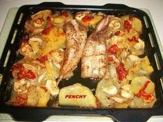 Colas de rape con verduras al horno Receta de penchi briones garcia Fırın yemekleri Food Truck, Macaroni And Cheese, Seafood, Sausage, Food And Drink, Easy Meals, Cooking Recipes, Menu, Fish