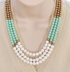 Color Block Mint Green, Gold and White Necklace from lumibon