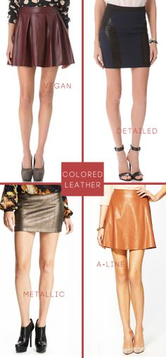 How to wear: Colorful Leather Skirts