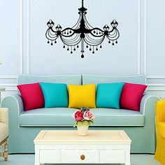 Wall Decals Chandelier Light Vintage Candles Living Room Nursery Wall Vinyl Decal Stickers Bedroom Murals ** Want to know more, click on the image. (Note:Amazon affiliate link)