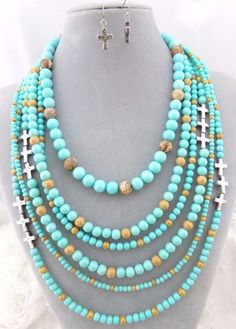 Layered Blue Brown Bead Necklace Earrings Set Silver Cross Fashion Jewelry NEW…
