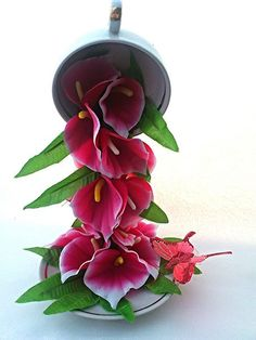 Flying cupWaterfall of callas Flying by BeautyStitch on Etsy, $28.00