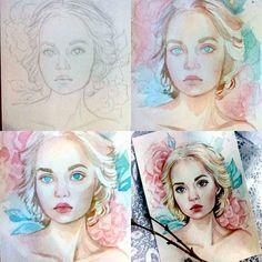 Portrait watercolor stages