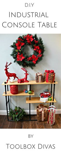 DIY industrial console bookcase made using PVC pipes. Save on iron pipes and try PVC. Full plans on @homedepot blog #Diy #Toolboxdivas @toolboxdivas #Homedepot #freeplans #diyproject #bookcase #pvcpipes #industrial how to furniture