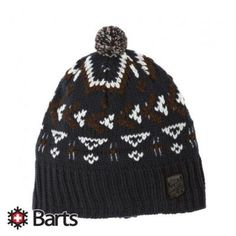 $13, Navy Print Beanie: Barts Duncan Beanie Navy. Sold by Surfdome. Click for more info: https://lookastic.com/men/shop_items/124552/redirect