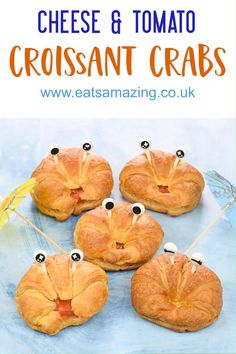 Turn these quick and easy cheese & tomato filled croissants into fun crabs for a cute beach or ocean themed party food idea for kids! #EatsAmazing #partyfood #kidsfood #foodart #funfood #creativefood #cutefood #ocean #beach #summerfood Food Art For Kids, Fun Snacks For Kids, Cooking With Kids, Kids Meals, Beach Theme Snacks, Party Snacks, Summer Snacks, Summer Recipes, Ocean Food