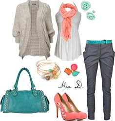 """""""Coral & Aqua 3"""" by misssglamour on Polyvore"""