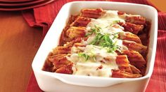 Super-Easy Chicken Manicotti ~ I don't use chicken for this receipe, I use ground turkey and it's delicious!
