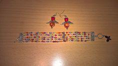 rainbow bracelet, angel earrings
