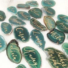 """Agate Slices Wedding Calligraphy Place Cards Green 2""""-3""""