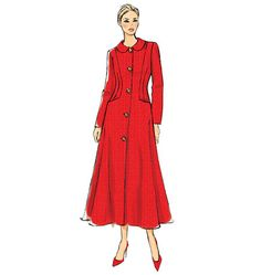 V9040  Lined, fitted and flared coat has collar variations, princess seams, optional sleeve heading, side front pockets and two-piece sleeves. #voguepatterns
