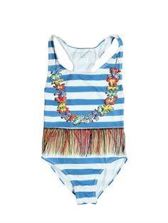 819a1bfa1f STELLA MCCARTNEY KIDS #HAWAII DIGITALLY PRINTED LYCRA ONE PIECE. Hawaiian  Skirt, Striped Swimsuit