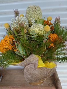 Pops of yellow. Native flower arrangement by RANE flowers Flower Arrangement, Floral Arrangements, Tropical, Table Flowers, Silk Flowers, Nativity, Floral Design, Table Decorations, Yellow