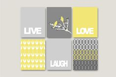 Items similar to Inspirational prints Live Love Laugh // Wall of Inspiration // SET of - 5 x 7 Modern Home Decor Shades of Grey, Yellow and White on Etsy