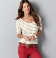 This Beach Strip Elbow Sleeve Tee is only $20 for a limited time at LOFT!