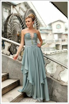 Attractive A-Line Strapless Floor-length Beading Prom Dresses