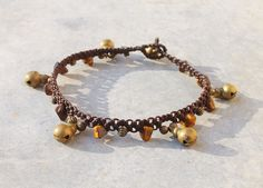 Bell Anklet / Brass Bell and Tiger Eye Macrame by Malatichan