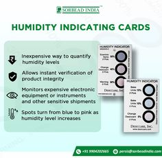 #SorbeadIndia offers #HumidityIndicatingCards to indicate humidity conditions in various types of #barrier packaging. Applications:- •Indicates humidity conditions in various types of barrier packaging •Often used in conjunction with a desiccant •Allows instant visual verification of product integrity •Approved for MIL- I- 8835 applications •Low cost •Spots turn from Blue to Pink to indicate humidity levels Our contact details: www.pharmadesiccants.com persis@sorbeadindia.com +91 9904202665 Packaging Solutions, Custom Cards, Moisturizer, Conditioner, Integrity, Pink, Blue, Products