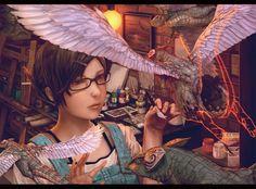 Short hair brunette manga girl with glasses | dragons glasses paint sculpture short hair meganekko anime girls paint ...