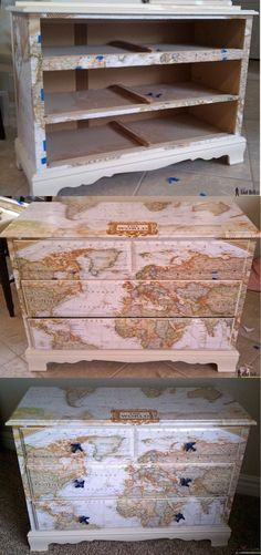 The Map Dresser |Creative DIY Crafts Using Old World Maps | www.diyprojects.com/32-inventive-uses-for-old-maps/