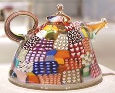 A glass quilted teapot for quilting friends who come to call. via daisyjanie.typepad.com