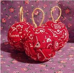 Red Bandana Western-Themed Christmas Ornaments Set of 3