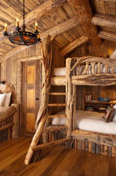 Pearson Design Group | Rustic Bedroom- love the bunk and the stairs to the upper!