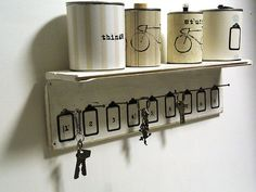 Shelf Key Rack  hotel style wall mounted White Wood by Ayliss, $40.00