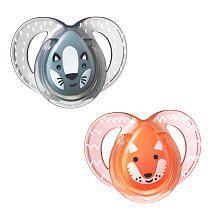 Tommee Tippee 6- 18 Months 2 Pack Everyday Pacifier - Grey Racoon/Orange Fox