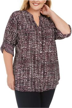 Calvin Klein Plus Size Printed Utility Shirt Curvy Plus Size, Plus Size Model, Trendy Plus Size, Curvy Fashion, Plus Size Fashion, Plus Size Workout, Plus Size Designers, Plus Size Shopping, Plus Size Shirts