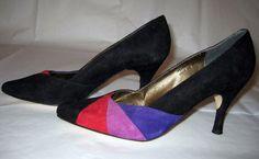 Size 8B Vintage Purple Red Black Pumps Color by ExpertImageVintage, $25.00
